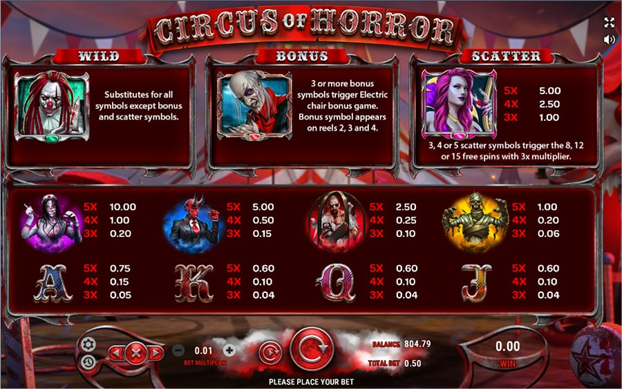 Play Circus of Horror video slot at Vegas Crest Casino